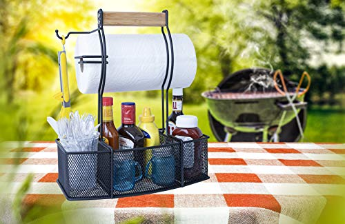 Superior Trading Co Steel Caddy For Organizing Paper Towels Condiments Tools for Grill BBQ Picnics Household Cleaning Garage Cars Caddy Black Large