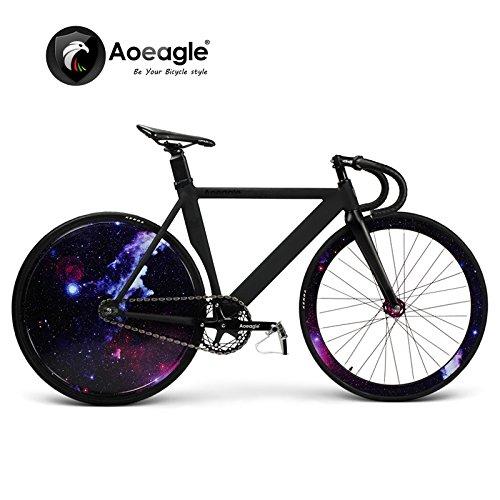 700C Cool Fixed Gear Bike, Road Bike, Racing Bike, Flash Bicycle, Aluminum Alloy Muscle Frame, Shiny Rear Wheel (C)