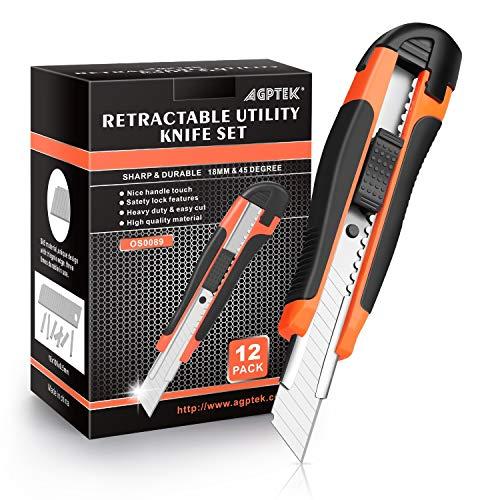 AGPtek 12 Teppichmesser Kartonschneider Cuttermesser mit 12 Zusätzlichen Ersatzklingen, 18 mm ausziehbares Kartonmesser, Perfekt für Schneiden zum Papier, Klebeband, Karton, Coupon und Stoffe