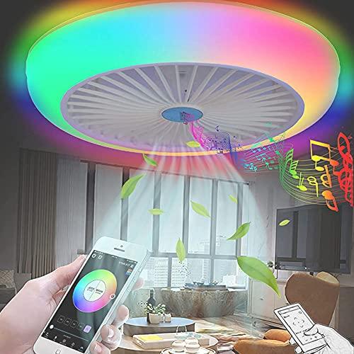 Plafon LED Ventilador de Techo con Luz y Mando Distancia Redondo APP Ventiladores de Techo con Luce Regulable Inspire Bluetooth Música Altavoz RGB Ajustable Lampara Silencioso Infantil Dormitorio 72W