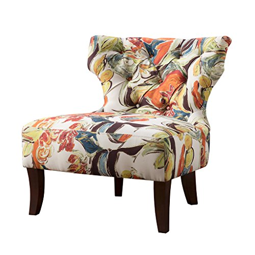 Madison Park Modern Classic, Artsy Watercolor Splash Canvas Design, Button Tufted Living Room Sofa Furniture, Bedside Lounger Erika Accent Chairs, Birch, Hardwood, Hourglass Wingback
