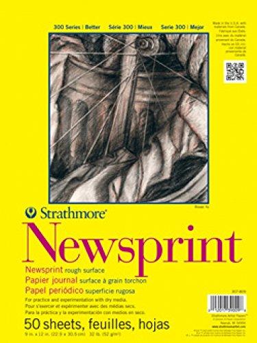 Strathmore 300 Series Newsprint Pad, Rough, Tape Bound, 50 Hojas, Blanco, 14 by 17', 1, 50