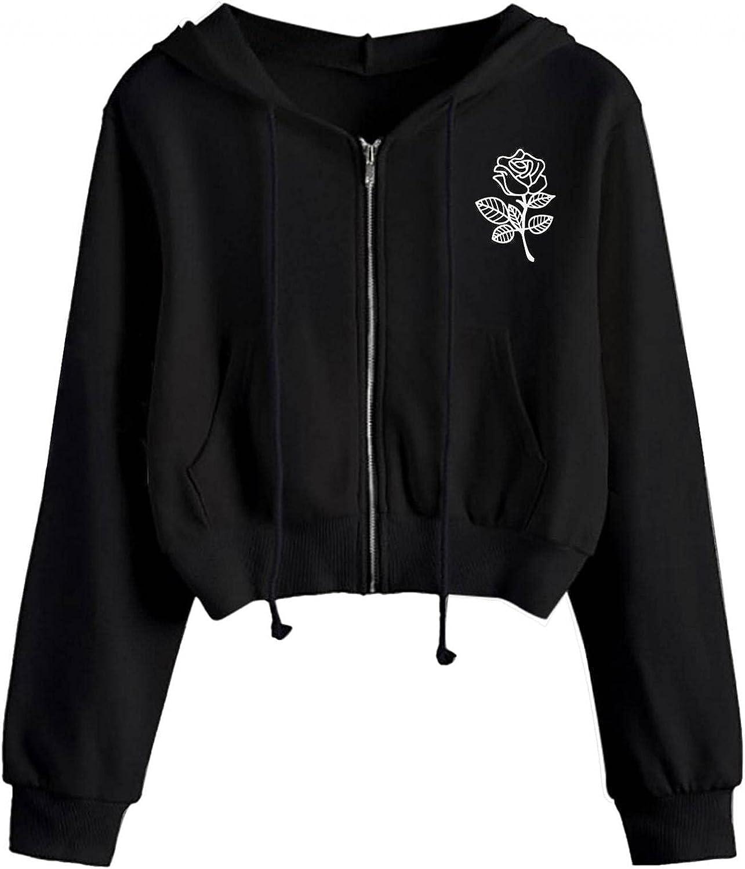 MASZONE Crop Hoodies for Teen Girls Trendy Full Zip Solid Color Drawstring Hoodies Pullover Long Sleeve Sweatshirt Tops