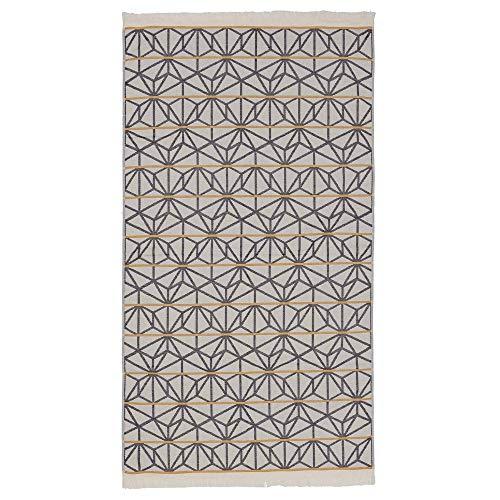 URBANARA Strandtuch Arade - 100% Reine Baumwolle, mit geometrischem Muster und Fransen - 100 x 180 cm, Duschtuch, Handtuch, Badetuch, Saunatuch, Hamamtuch (Naturweiß/Dunkelblau/Senfgelb)