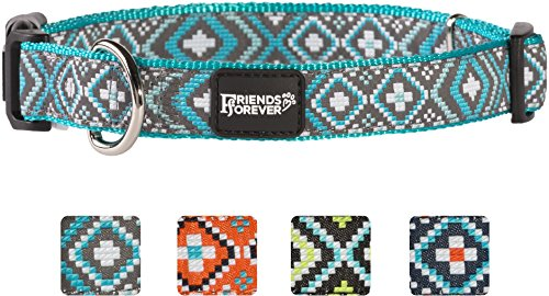 """Unbekannt Friends Forever Hund Halsband für Hunde–Fashion Gewebte Quadratisch Muster Cute Puppy Kragen, erhältlich in Größe S/M/L, Large 18-26"""", Türkis"""