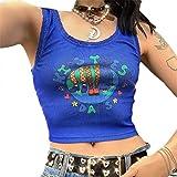 Loalirando Y2K Crop Top Tumblr - Camiseta de tirantes para mujer, de verano, de encaje, sin mangas, sexy, elegante, vintage azul oscuro M