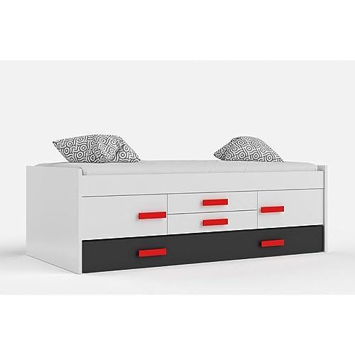 Habitdesign 0R7440BO - Cama doble juvenil, 2 puertas 2 cajones, color Blanco Brillo y