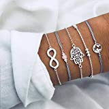 Handcess Boho Hand Hamsa Bracelet Silver Forever Bracelets Map Hand Chain Beads Hand Accessories for Women and Girls(5 Pcs)