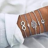 Handcess Pulsera bohemia de mano Hamsa para siempre, pulsera de plata con mapa, cadena de mano, accesorios de mano para...