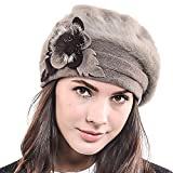 HISSHE Women Classic French Artist Wool Beret Angora Beanie Winter Hat BR022 (Khaki)
