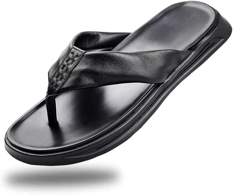 Flip Flops & Thong AUGAUST Men's Thongs Comfy Sandals Beach Pool Lightweight Summer Flat Black (color   Black, Size   39)