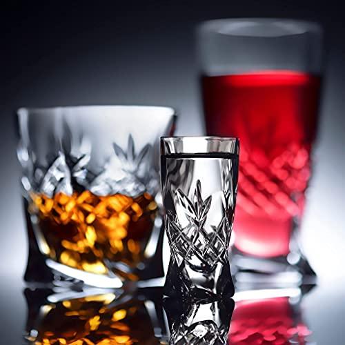 Premium Code Set di 6 bicchieri da shot, in cristallo levigato a mano, per liquore, vodka, 50 ml,...