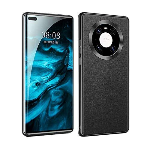 MingWei für Huawei Mate 40 Pro Hülle - Hochwertiges Leder Metallic-Farbe leichte Passform Kameraschutz Schutzhüll (Mate 40 Pro, Schwarz)