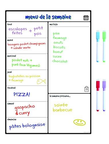 Magnetisches Whiteboard Kühlschrank-Kalender von Smart Panda - Nützlicher Menü-Planer, Memo oder wöchentliche Einkaufsliste für Erwachsene und Kinder - Notizbrett - auf Französisch