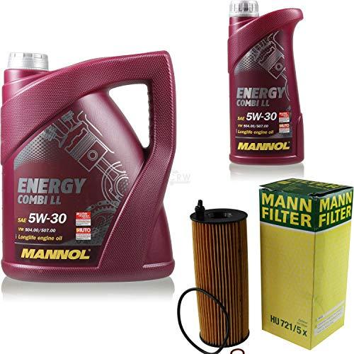 Filter Set Inspektionspaket 6 Liter MANNOL Motoröl Energy Combi LL 5W-30 API SN/CF MANN-FILTER Ölfilter