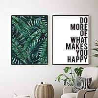 北欧熱帯植物キャンバス絵画ポスター緑の葉キャンバスプリント壁の写真リビングルームの家の装飾-(50X70cm)X2フレームなし
