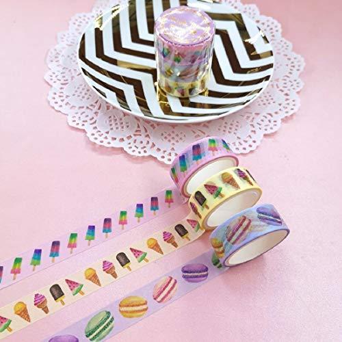 Juego de cintas de colores, 3 rollos de cintas de colores con patrón de helado de macarrón para manualidades y útiles escolares de 15mm x 3m