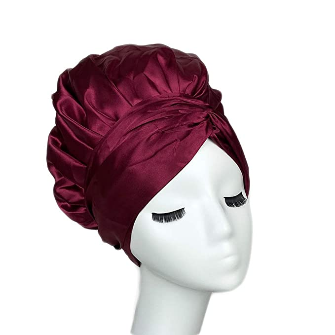 1920s Hat Styles for Women – History Beyond the Cloche Hat Cospack Easy Headwrap Satin Lined Hair Bonnet Double Layers With Two Straps for Women Long Curly Hair For Sleeping Head Scarf Head Wrap (Red)  AT vintagedancer.com