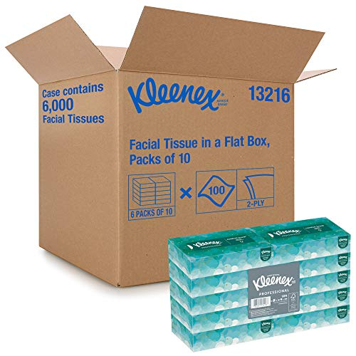 Kleenex Professional Facial Tissue for Business 13216 Flat Tissue Box 100 Tissues/Box 6 Bundles/Case 10 Boxes/Bundle 60 Boxes/Case