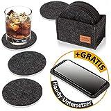 DINING concept I Filz Glasuntersetzer rund 10er Set mit Aufbewahrungsbox I Premium Filz...