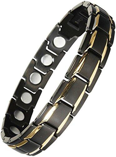 Original YINGA-VITAL® Magnetschmuck Herren Armband. Extrastarke 4000 Gauss Magnete. 18 Magnete. Magnetarmband in Stil Bicolor Schwarz-Gold, Länge 23,5cm