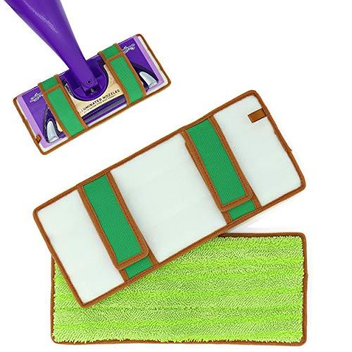 Reusable Mop Pads for Swiffer Wet Jet Refills, Machine Washable Refill Pads for Swiffer Wet Jet Pads, Microfiber Mop Refill for Hardwood Floor, 2-Pack