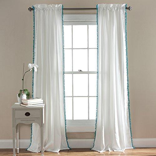 "Lush Decor Pom Curtain   Textured, Solid Color Shabby Chic Style Window Panel Drape for Living, Dining Room, Bedroom (Single), 84"" x 50"", 84"" x 50"", Aqua"