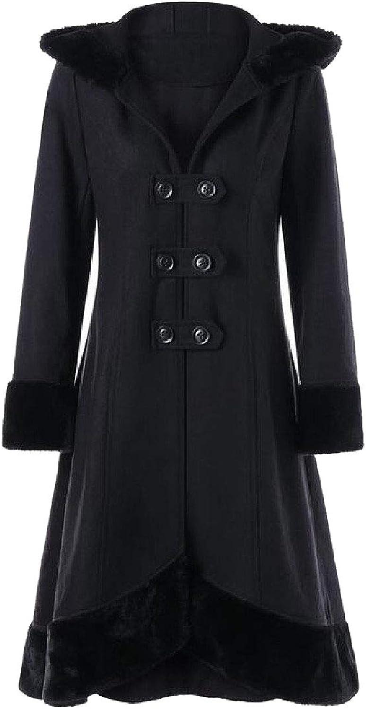 Doanpa Women Fall Winter Woolen Fur Collar with Hood Wool Pea Coat