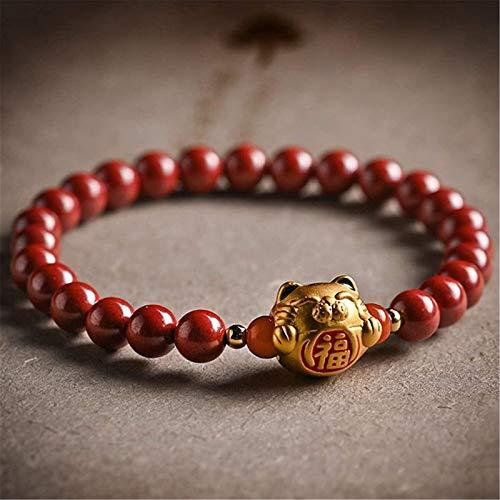 XIAOGING Feng Shui Amuleto Pulsera Prosperidad Natural cinabrio Pulsera Afortunado Gato Buddha Perlas Afortunado encantos Pulsera 6mm atrae Buena Suerte Dinero Amor Regalo para Mujeres/Hombres, Rojo