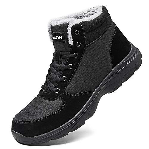 BIGU Botas de Nieve Hombre Botines Invierno Plano Botines Calentar Zapatos Anti-Deslizante Deportes Al Aire Libre Boots Marrón Azul Negro