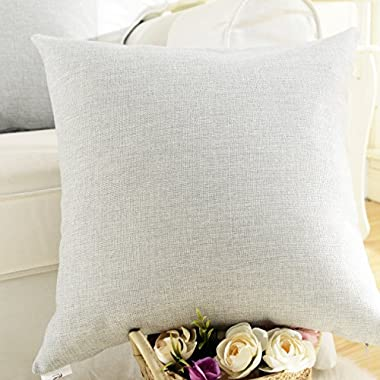 HOME BRILLIANT Decorative Lined Linen Square Throw Cushion Cover Pillow Cover for Bed/Kids/Chair, 18 x 18 inch, Light Grey