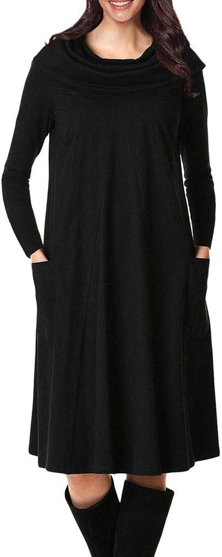 Sububblepper Women's Cowl Neck Long Sleeve TShirt Dress with Pockets Aline Dress (color   Black, Size   S)