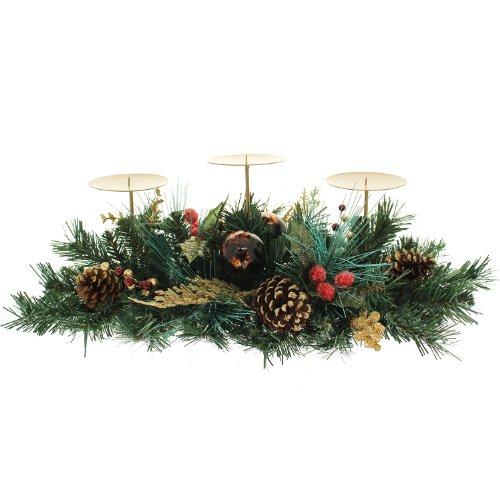 WeRChristmas - Centro tavola Decorato con Bacche/pigne/Foglie, 52 cm, con 3 portacandele a Colonna, per Natale, Colore: Rosso/Oro