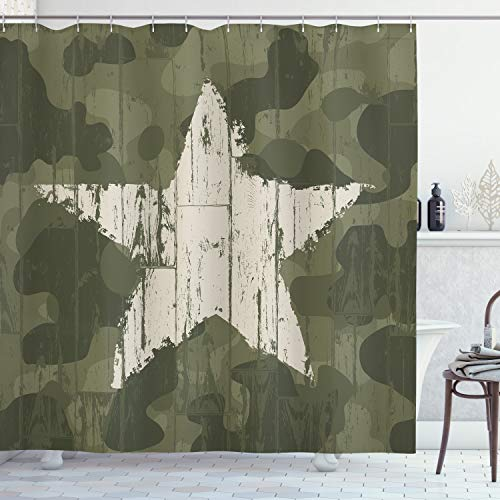 ABAKUHAUS Camouflage Douchegordijn, Grunge van de Ster op Groen, stoffen badkamerdecoratieset met haakjes, 175 x 180 cm, Dark Green Dust