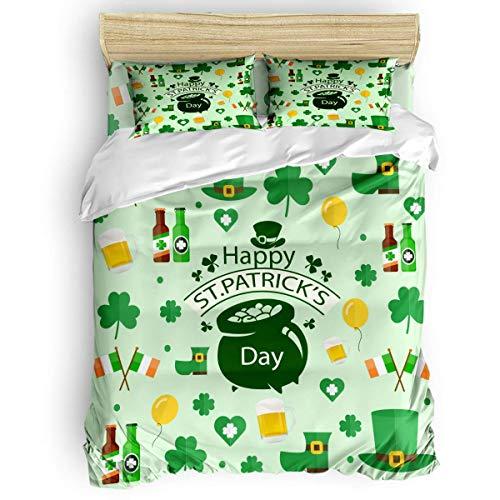 HARXISE Juego de Funda nórdica de 3 Piezas con Feliz día de San Patricio, Sombrero de Duende de Dibujos Animados, tréboles, Bandera Irlandesa, Juegos de Cama acogedores
