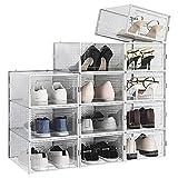 RISETEX Shoe Boxes Clear Plastic Stackable 12 Pack,Shoe Storage...