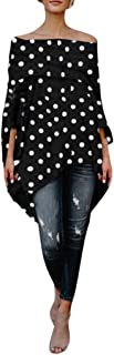 Women's Fashion Sexy Causal Off-Shoulder Dot Print Long Sleeve Irregular Hem Loose T-Shift Blouse Tops