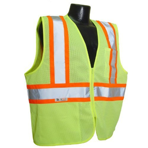 Radians SV22–2zgm-m Polyester Mesh Economy Class 2High Visibility Zipper Closure Vest with Two-Tone Trim, Medium, Green by Radians