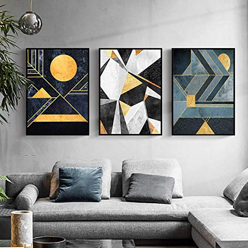VUSMH Póster de Sol Abstracto Figura geométrica Arte de Pared línea Dorada Lienzo Pintura hogar Salon de Estar Dormitorio Decoracion de Pared Cuadros 40x60cmx3 sin Marco