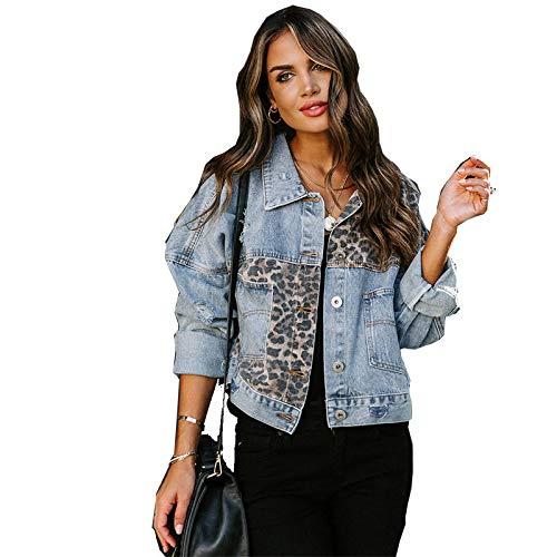 HUITAILANG Giacca di Jeans Donna, Giacca di Jeans Corta con Cucitura Leopardata, Cappotto alla Moda, Stampa Leopardata, X, Grande