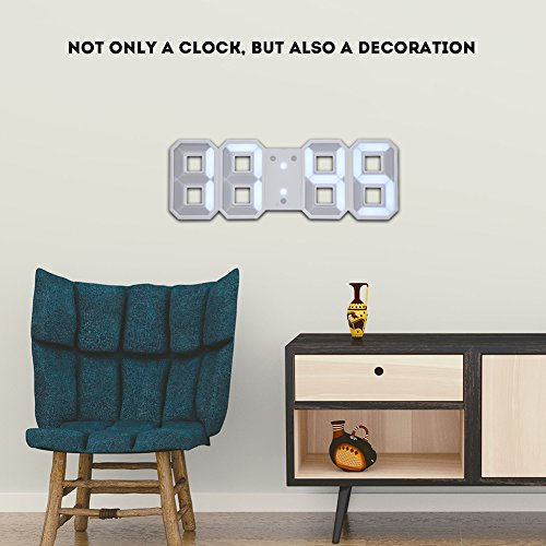 3D LED Digital Wall Alarm Clock with 3 Brightness Level Snooze Function 12/24H Display (White)