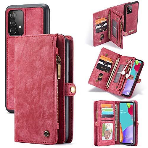 Happy-L Funda para Samsung Galaxy A52 [4G/5G], cuero sintético retro, multifuncional, desmontable, con ranuras para tarjetas y cierre de cremallera, color rojo