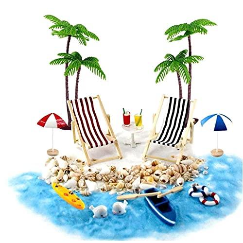 Casa de muñecas en Miniatura Accesorios Beach Decoración del Paisaje de la Playa Micro con tumbonas Parasoles de la Palmera para el Verano 18PCS Regalo para los niños