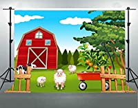 HD漫画農場納屋動物のテーマ背景10x7ft青空日当たりの良い写真の背景ベビーシャワーの誕生日パーティーの装飾用品写真撮影の小道具綿DSFS075