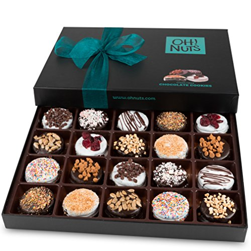 Oh! Nuts® Chocolate Covered Cookie Gift Baskets, 20 Variety Gourmet Assortment Set Holiday Food Sandwich Cookies, Prime Elegant Box Gifts for Mothers Day, Fathers Day, Holiday Season