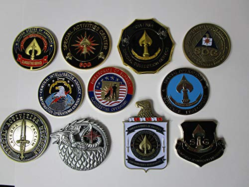 Set of 11 CIA Challenge Coins CIA SAD Special Operations Group Special Activities Division Grim Reaper CIA Seal Team VI CIA Spy vs Spy Clandestine Operations Bad Moon CIA