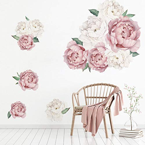 VNEIRW 3D Wandtattoo Shrinkable Pfingstrose Rose Blumen Stereo Wandaufkleber Kunst Kinderzimmer Hintergrund Abziehbilder Deko (40x60cm)