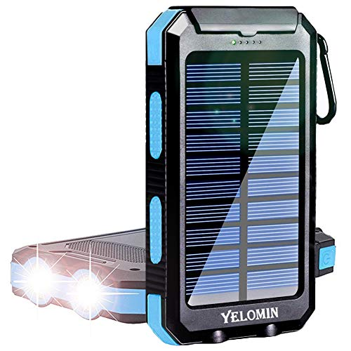Solar Power Bank,YELOMIN 20000mAh Portable Outdoor Solar Charger,Camping External Backup Battery Pack Dual USB 5V 1A/2A Outputs 2 Led Light Flashlights with Compass