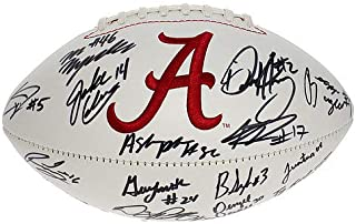 Alabama Crimson Tide 2015 National Championship Team Autographed Signed White Panel Football - Without Nick Saban - Certified Authentic