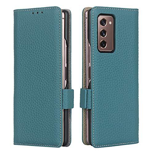 SailorTech Funda para Samsung Galaxy Z Fold2 5G Lujo Litchi Grano Cuero Genuino Casos con Cierre Magnético Ranura para Tarjeta Folio Flip Teléfono Case - Azul Cielo